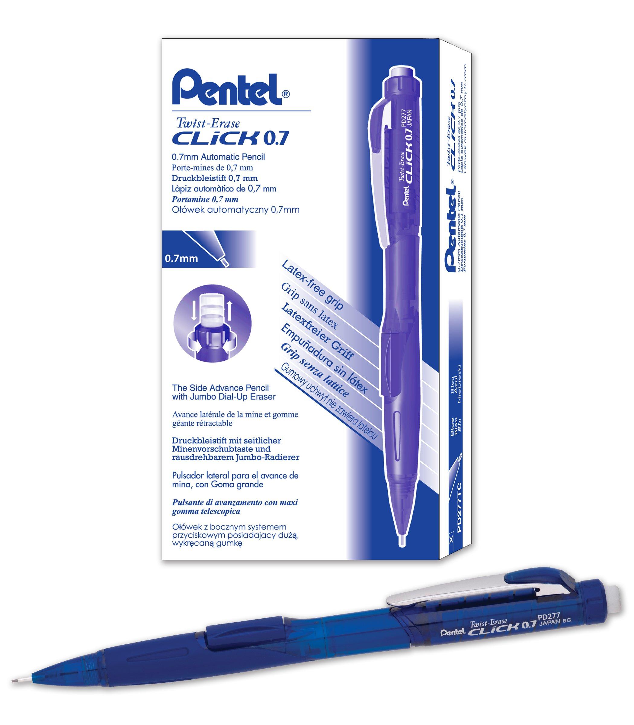 Pentel Twist-Erase CLICK Mechanical Pencil (0.7mm) Assorted Blue Barrel Colors, Color May Vary, Box of 12 (PD277TC)