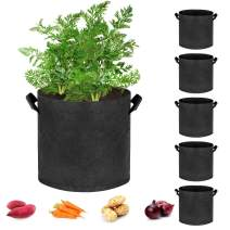 Hugro Tarfive 6 Pack 1 Gallon Grow Bags NonWoven Aeration Fabric Pots with Handles and Access Flap, Garden Vegetable Planting Bags for Potato Tomato and Fruits (1 Gallon)