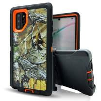 Galaxy Note 10 Plus Case,Note 10+ Case with Belt Clip Holster,Vodico Heavy Duty Camo Defender Silicone Phone Cover+Hard Protective Bumper Military Grade Shockproof with Kickstand Phone Case (X Orange)