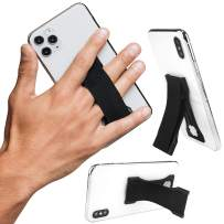 LoveHandle PRO Black - Premium Phone and Tablet Grip with Swappable Strap, Phone Stand - a Kickstand and Internal Magnets to Mount on Compatible Metal Surfaces - Made in USA