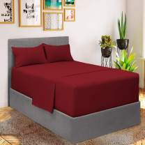Mellanni Bed Sheet Set - Brushed Microfiber 1800 Bedding - Wrinkle, Fade, Stain Resistant - 3 Piece (for Extra Deep Mattresses, Twin XL, Burgundy)