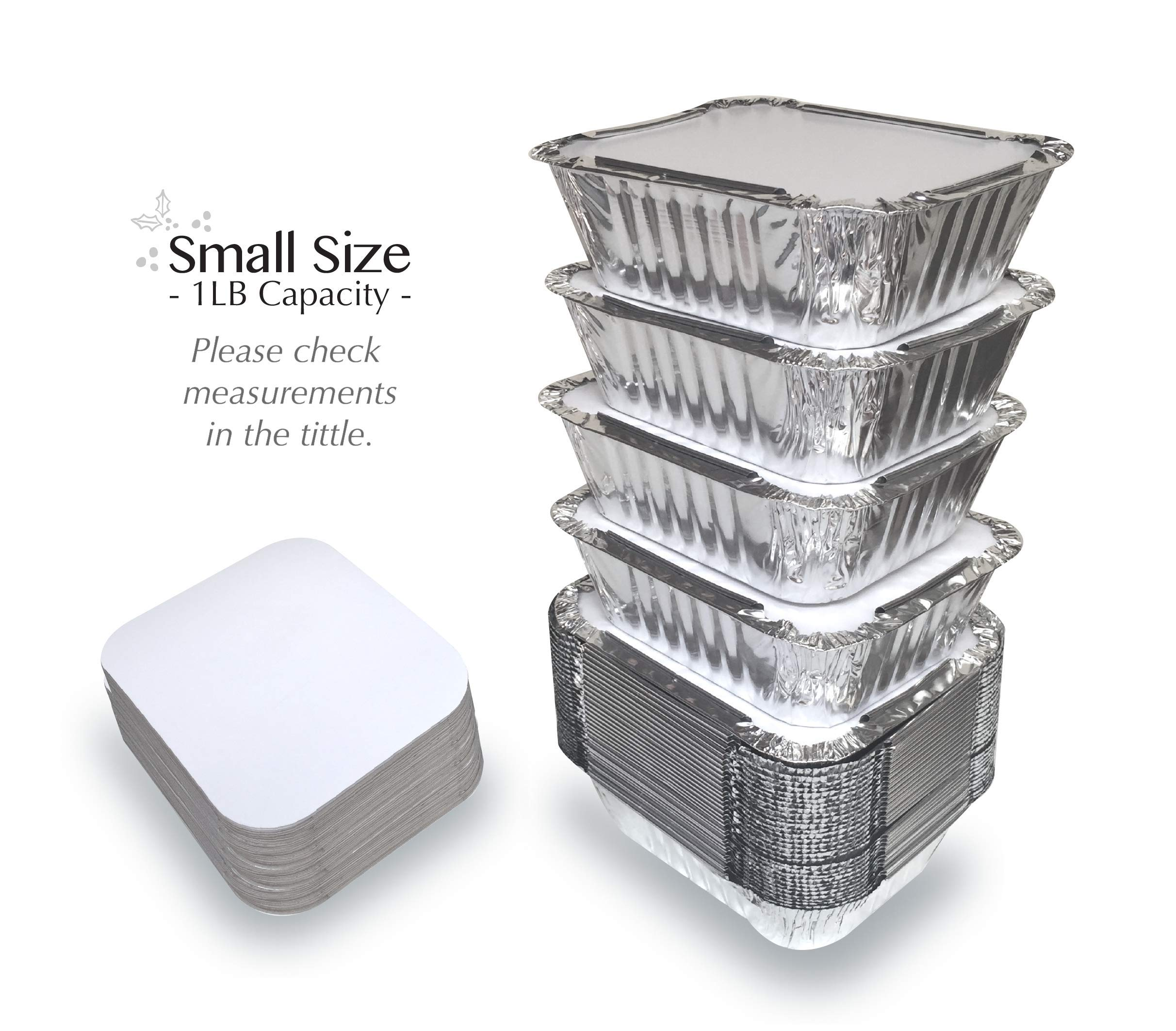 """55 PACK - 1LB Aluminum Foil Pan Containers with Lids Take Out Pans Food Containers Disposable Easy Pack From Spare – 1Lb Capacity 5.5"""" x 4.5"""" x 1.9"""" – SMALL Size"""