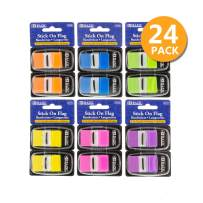 """BAZIC 30 Ct. 1"""" x 1.7"""" Neon Color Standard Flags w/Dispenser (2/Pack), 24-Pack"""