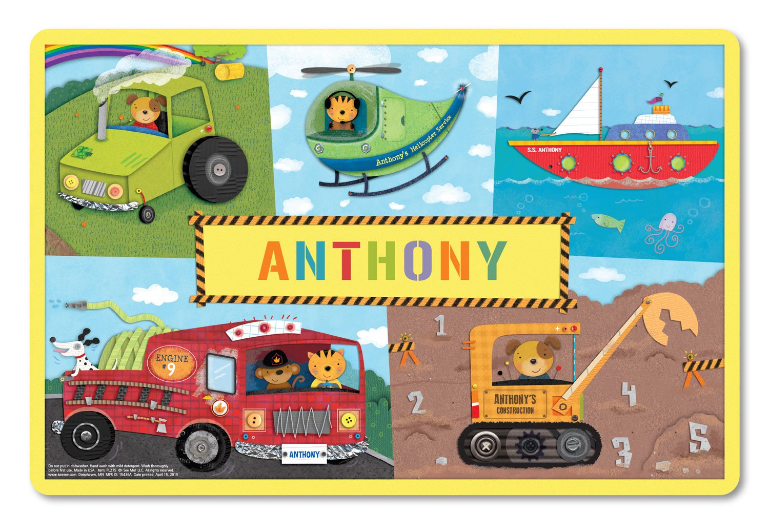 Kids Placemat Personalized with Child's Name, Custom Dining Placemat, Unique Gift for Boys and Girls, Trucks, Tractors, Construction, Firetruck, Digger