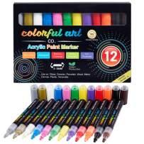 Paint Pens - 12 Premium Acrylic Paint Pens, Rock Painting Kit for Painting Rocks, Pebbles, Glass, Ceramic, Wood, Porcelain Permanent Water Based Waterproof Paint Marker Pens with 3-5mm Reversible Tip