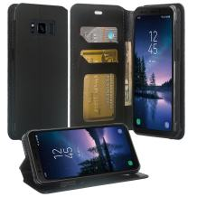 Compatible for Samsung Galaxy S8 Active Case, Galaxy S8 Active Wallet, SOGA [Pocketbook Series] PU Leather Magnetic Flip Wallet Case for Samsung Galaxy S8 Active - Luxury Black