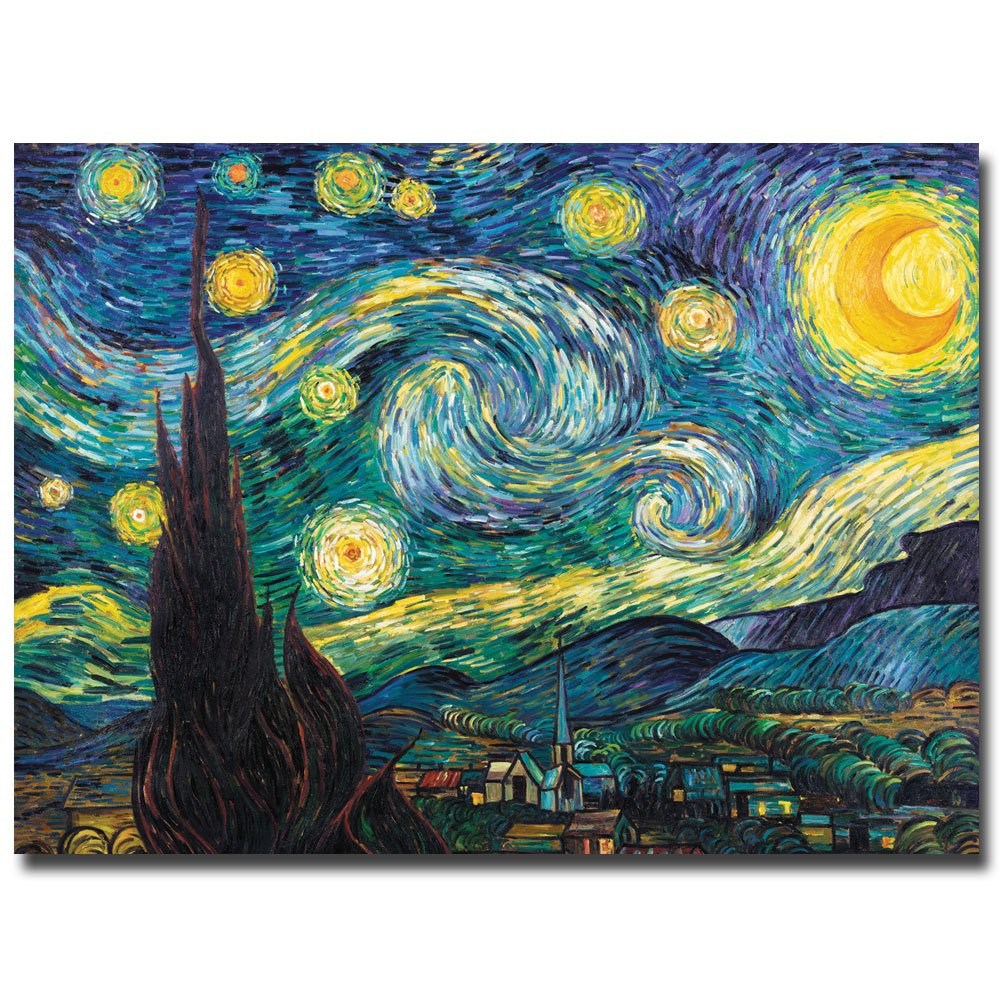 Starry Night by Vincent van Gogh, 14x19-Inch Canvas Wall Art