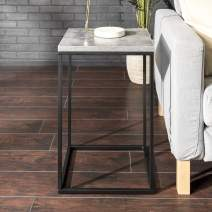 Walker Edison Furniture Company Modern Open Square Side Accent Living Room Small End Table, 16 Inch, Dark Concrete Grey
