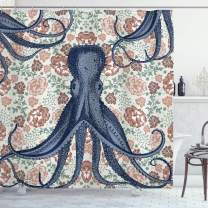 """Ambesonne Octopus Shower Curtain, Pastel Colored Composition with Sea Animal and Blossoming Vintage Style Flowers, Cloth Fabric Bathroom Decor Set with Hooks, 75"""" Long, Blue Beige"""