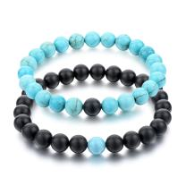 Long Way His and Hers Bracelets Black Matte Agate & Turquoise 8mm Stone Beads Bracelet(2 pcs)