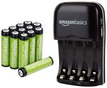 AmazonBasics AAA Rechargeable Batteries (12-Pack) and Ni-MH AA & AAA Battery Charger With USB Port Set