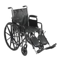 Drive Medical Silver Sport 2 Wheelchair with Various Arms Styles and Front Rigging Options, Black, 16 Inch