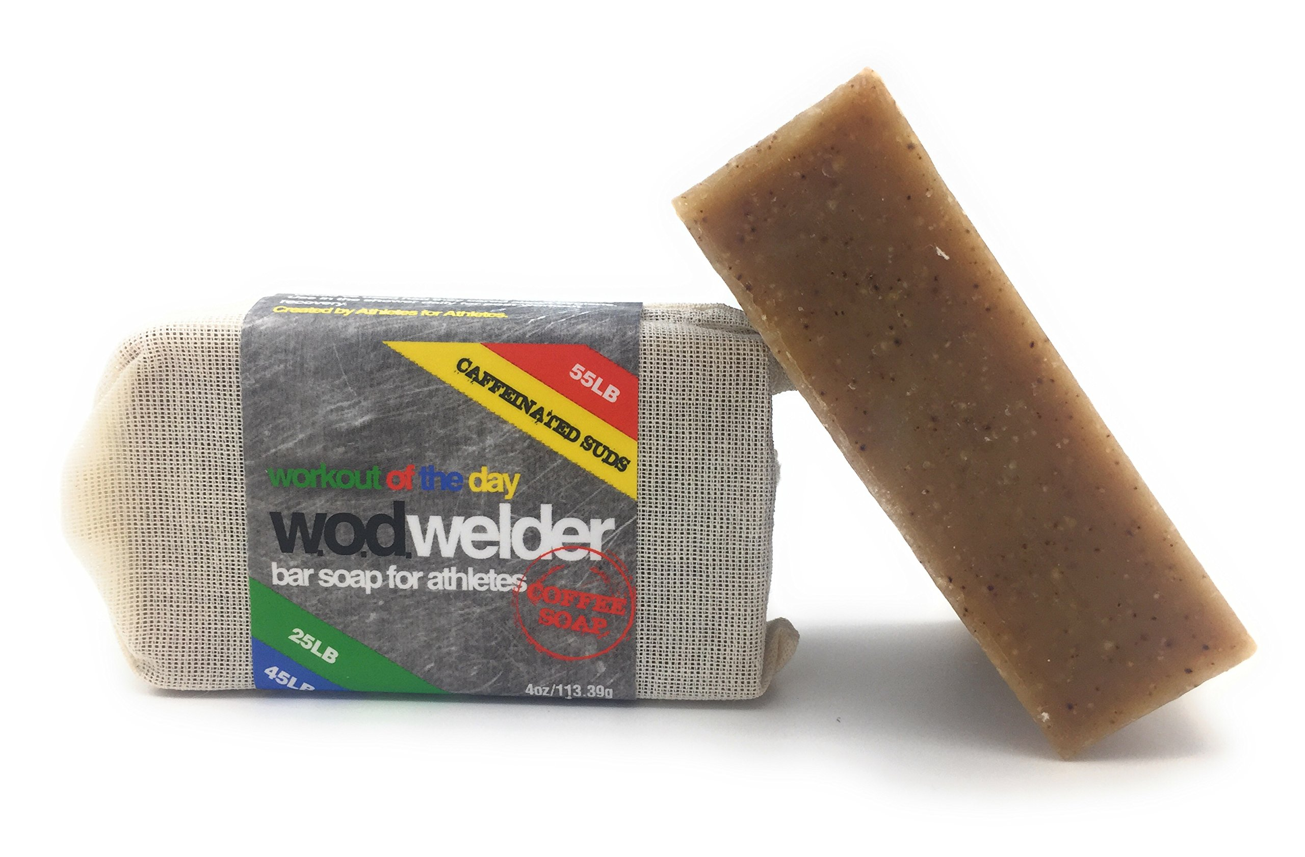 w.o.d welder All-Natural Coffee Exfoliating Bar Soap - 3 Pack - Post Workout Detox Soap Scrub for Athletes (3 Pack, Coffee)