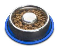 Wiser Pet Slow Feed Dog Bowl | Anti Gulping Slow Feeder for Dogs and Puppies | Durable and Easy Clean Stainless Steel | Slows Eating to Help Digestion and Reduce Risk of Choking and Bloat