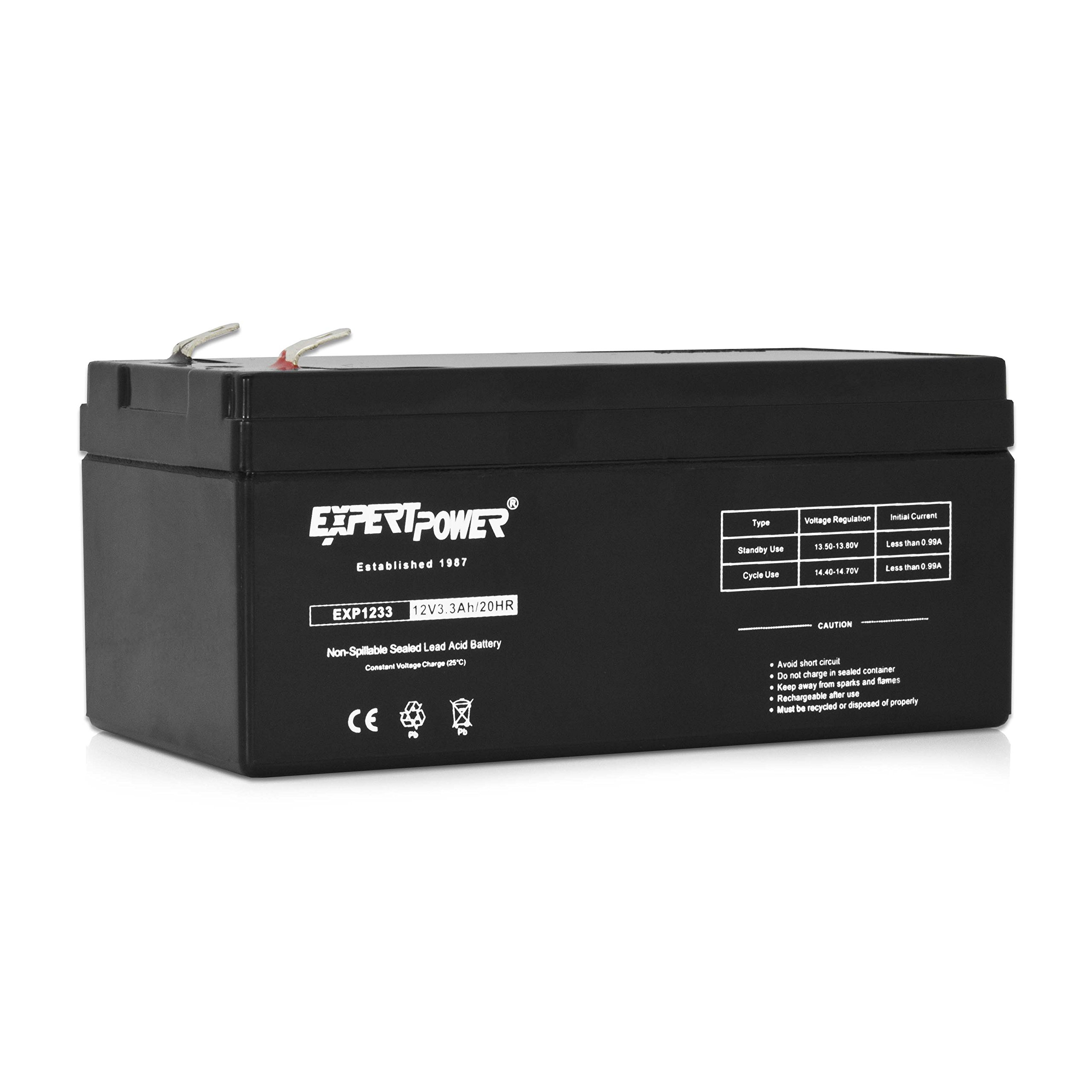 ExpertPower 12v 3.3ah Rechargeable Sealed Lead Acid Battery    Replaces RBC35 WP3-12 BP3-12 BP3.6-12 CF12V2.6 CFM12V3 CP1232