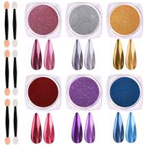 Mirror Nail Powder, KISSBUTY 6 Colors Chrome Nails Powder Holographic Nails Pigment Set Metallic Synthetic Resin Powder Mirror Effects for Nails Art Decoration With Eyeshadow Sticks