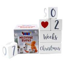 Milestone Blocks Set of 6 | Large Premium Design for Boys and Girls | Mark Monthly Age, First Year, Special Events - Wooden Photo Props | Perfect Baby Shower Gift