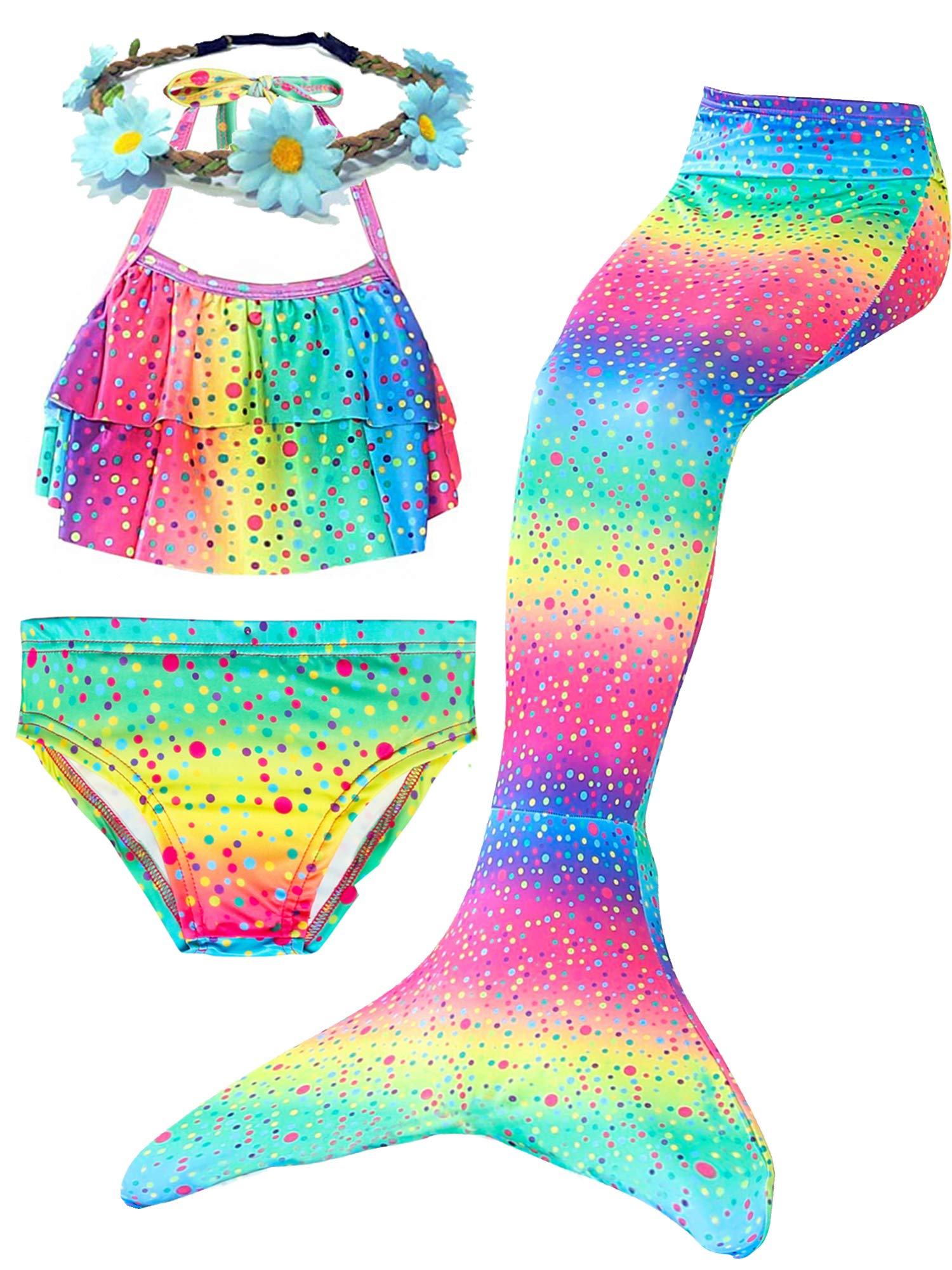 4 Pcs Baby Girls Swimsuits Mermaid for Swimming Halter Ruffled Tankini Top with Bottom Mermaid Cosplay Theme Party Favor