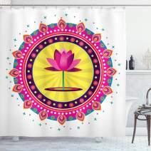 "Ambesonne Lotus Flower Shower Curtain, Circular Mandala Inspired Motif with a Pink Blossom Meditation Boho, Cloth Fabric Bathroom Decor Set with Hooks, 84"" Long Extra, Pink Yellow"
