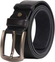 Real Leather Belts for Men, Black or Brown to Jeans Сasual Dress Work CCW Big