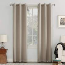 "Sun Zero Easton Blackout Energy Efficient Grommet Curtain Panel, 40"" x 63"", Stone"