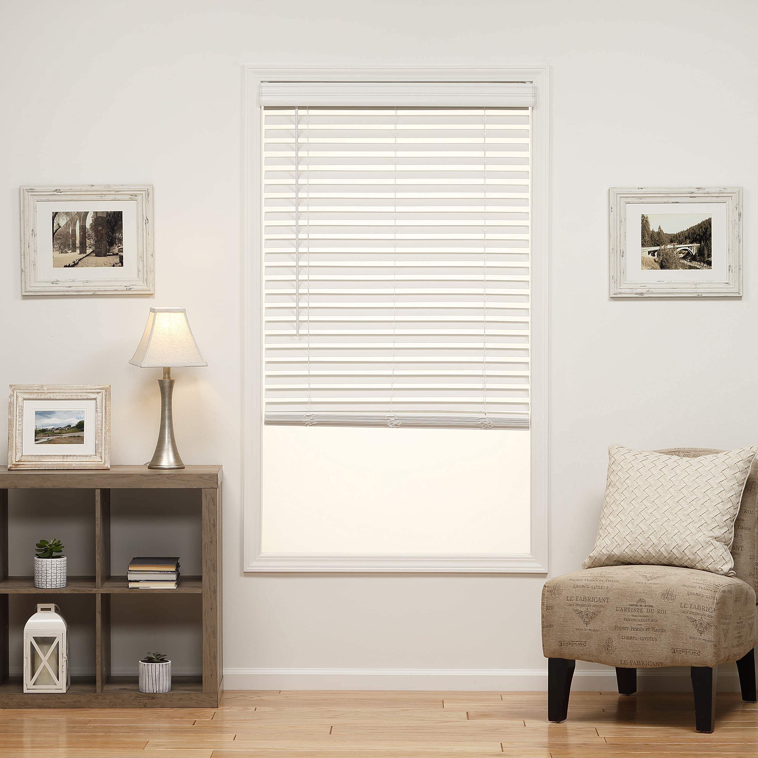 DEZ Furnishings QJWT504480 2 in. Cordless Faux Wood Blind, 50.5W x 48L Inches, White