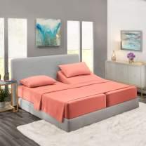 Nestl Bedding 5 Piece Sheet Set - 1800 Deep Pocket Bed Sheet Set - Hotel Luxury Double Brushed Microfiber Sheets - Deep Pocket Fitted Sheet, Flat Sheet, Pillow Cases, Split Cal King - Misty Rose