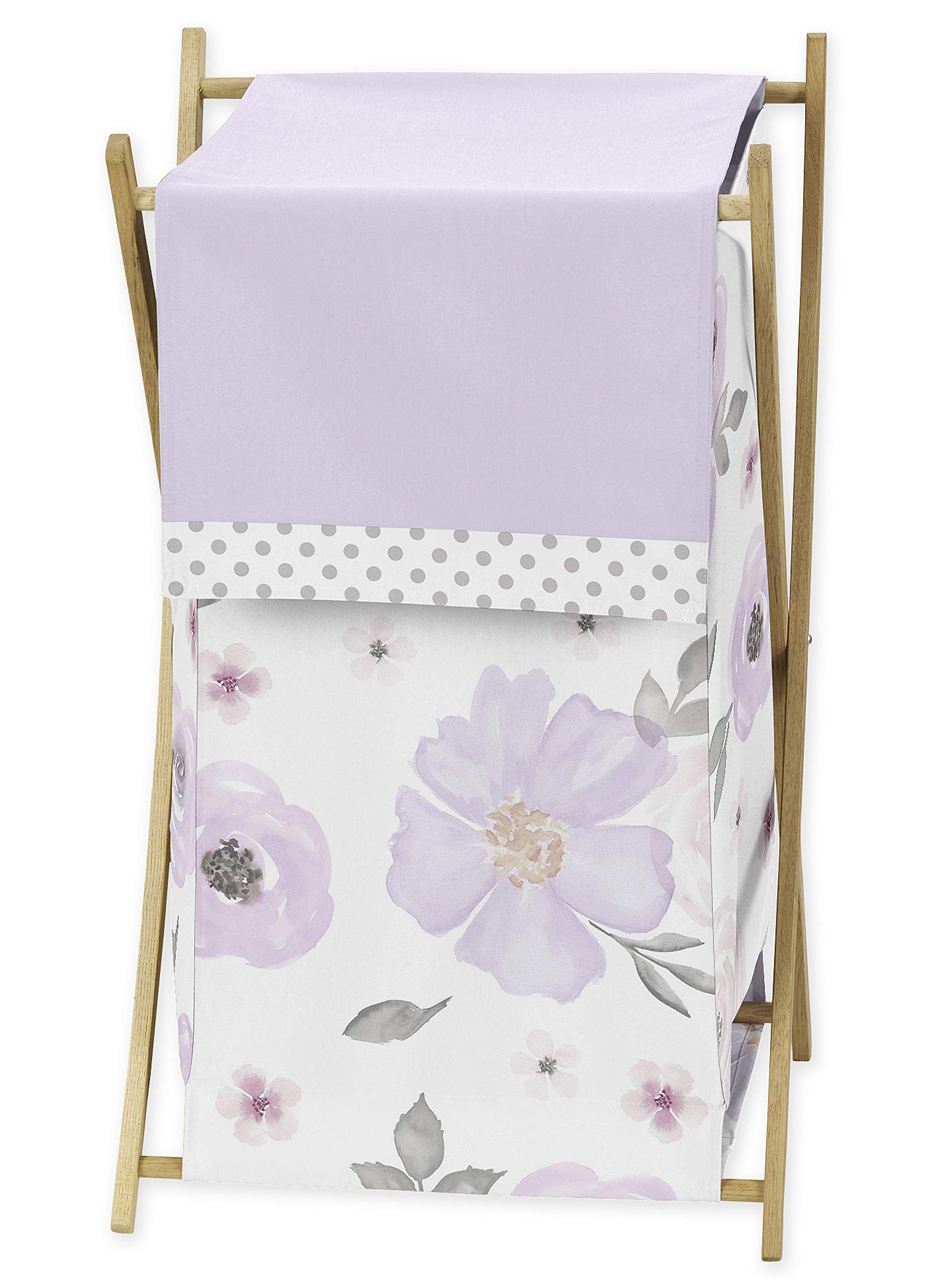 Sweet Jojo Designs Lavender Purple, Pink, Grey and White Baby Kid Clothes Laundry Hamper for Watercolor Floral Collection - Rose Flower