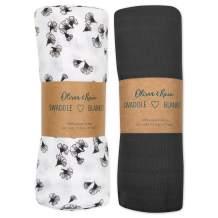Muslin Swaddle Blanket Oliver & Rain, Newborn Baby Girl, Gray Floral 2 Pack