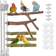 Lopbraa 9.84inch Natural Wood Bird Perch Stand Platform for Cage Parakeets, Cockatiels, Parrots, Conures Cages Accessories Bird Supplies