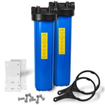 "20"" Big Blue Housing Whole House Water Filtration System 1"" Inlet/Outlet Brass Ports Pressure Relief Button, Meets NSF Standards & Regulations COMPATIBLE to BB-20B, 150233, 150235 (2 Sets, Blue)"
