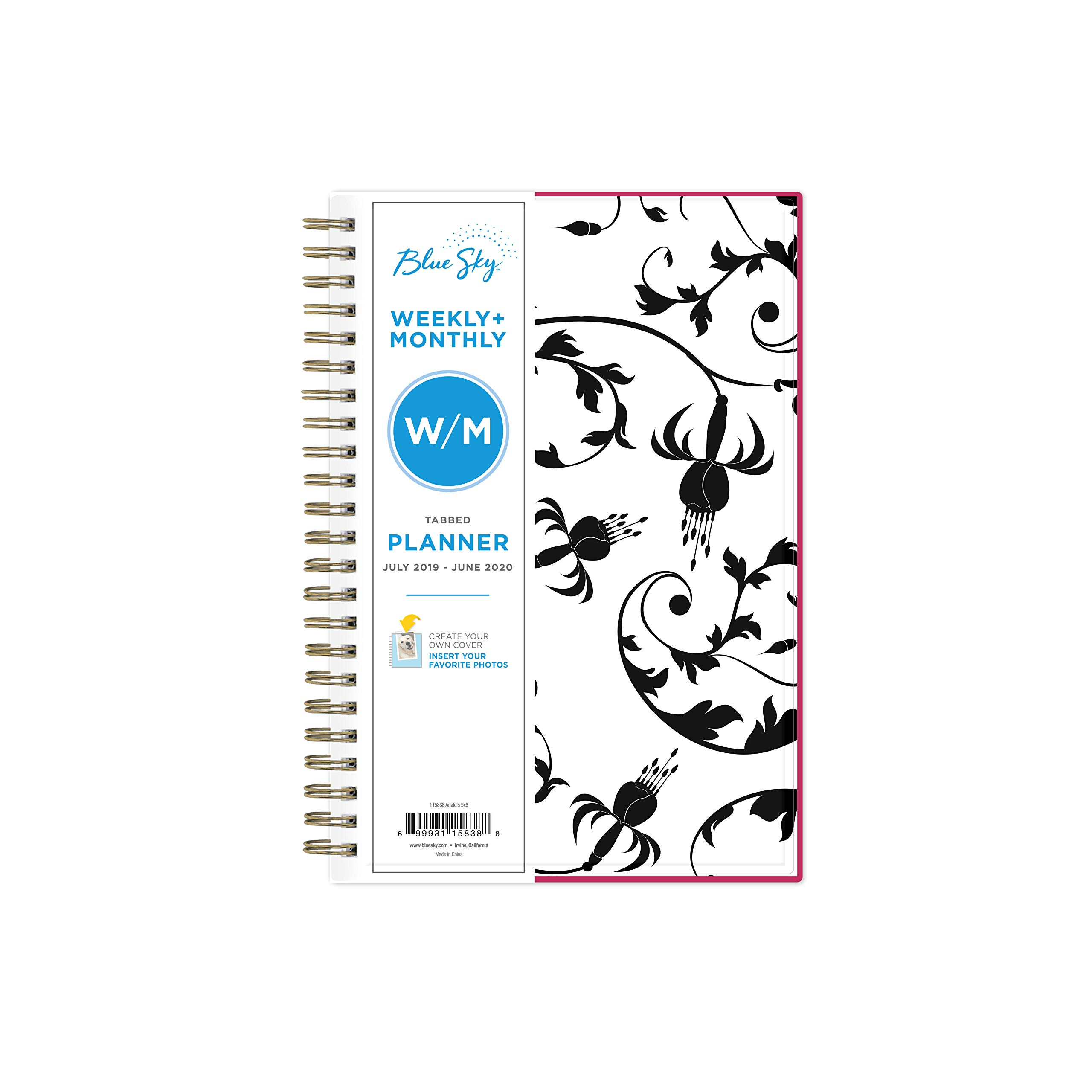 """Blue Sky 2019-2020 Academic Year Weekly & Monthly Planner, Flexible Cover, Twin-Wire Binding, 5"""" x 8"""", Analeis"""