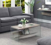 Convenience Concepts Soho Coffee Table, Sandstone /  Glass