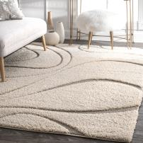 "nuLOOM Carolyn Cozy Soft & Plush Shag Rug, 6' 7"" x 9', Cream"