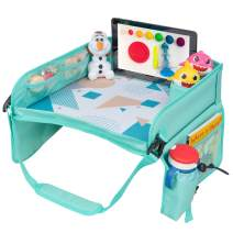 JiniKids Travel Tray - Activity Lap Play Tray - Car seat Desk for Kids - Toddler Car Travel Activity Setup - Airplane Traveling Tray - Snack and Play Tray - iPad & Tablet Holder (Tiffany Blue/Gray)