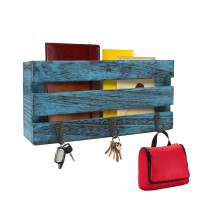 Rustic Wall Mounted Mail Sorter with 3 Key Hooks ~ Coat Hanger, Purse Hanger, Towel Hook ~ Easy Mount for Entryway, Bathroom, Living Room, Kitchen Wall (Rustic Blue)