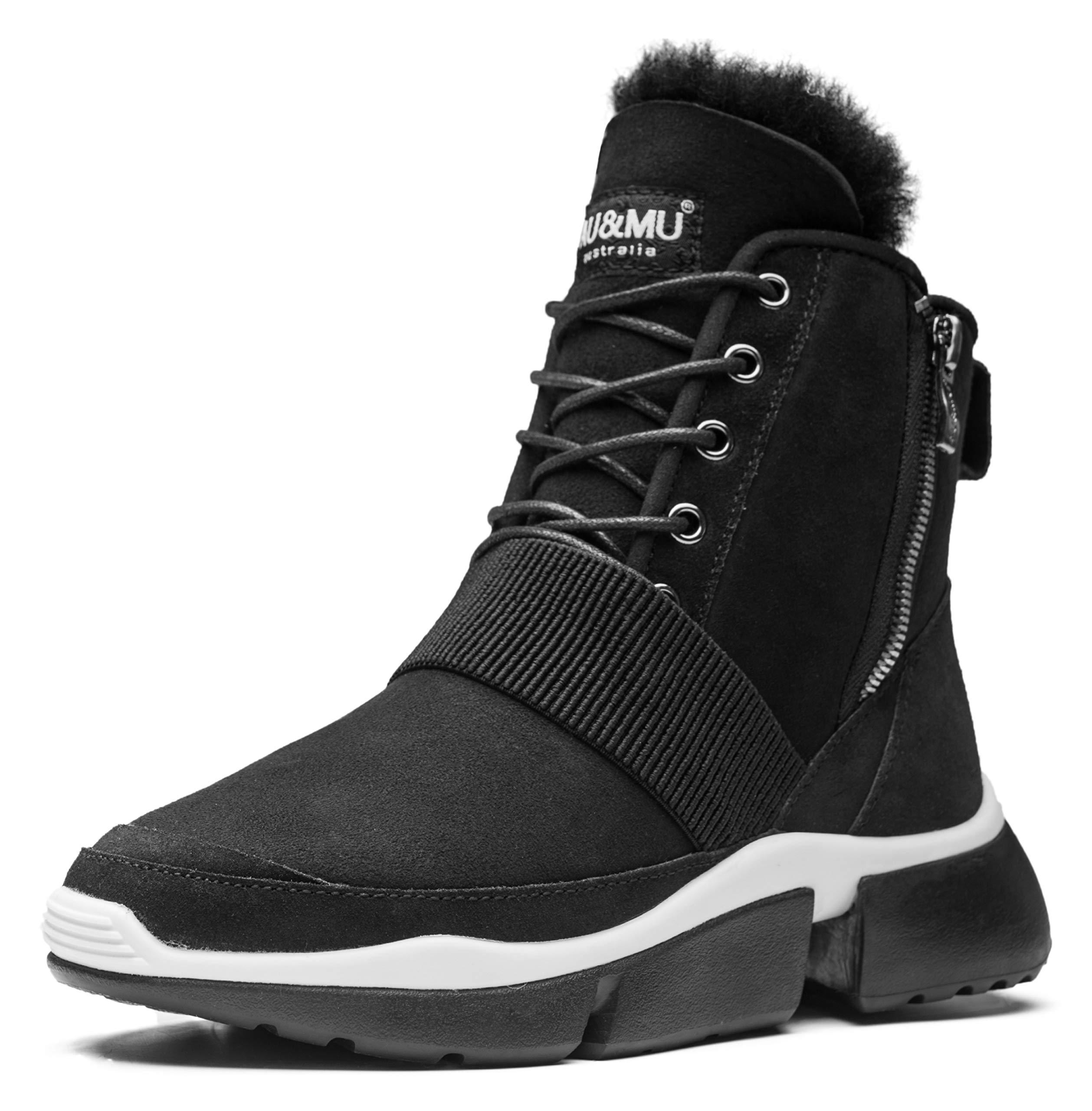 Aumu Elastic Band Suede Elevator Hiden Heel Lace Up Winter Snow Boots