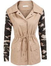 SoTeer Women's Casual Military Camo Lightweight Button Outwear Jacket S-XXL