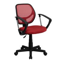 Flash Furniture Low Back Red Mesh Swivel Task Office Chair with Arms, BIFMA Certified
