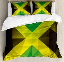 Ambesonne Jamaican Duvet Cover Set, Triangular Polygon Design Abstract Flag Geometric National, Decorative 3 Piece Bedding Set with 2 Pillow Shams, King Size, Yellow Green