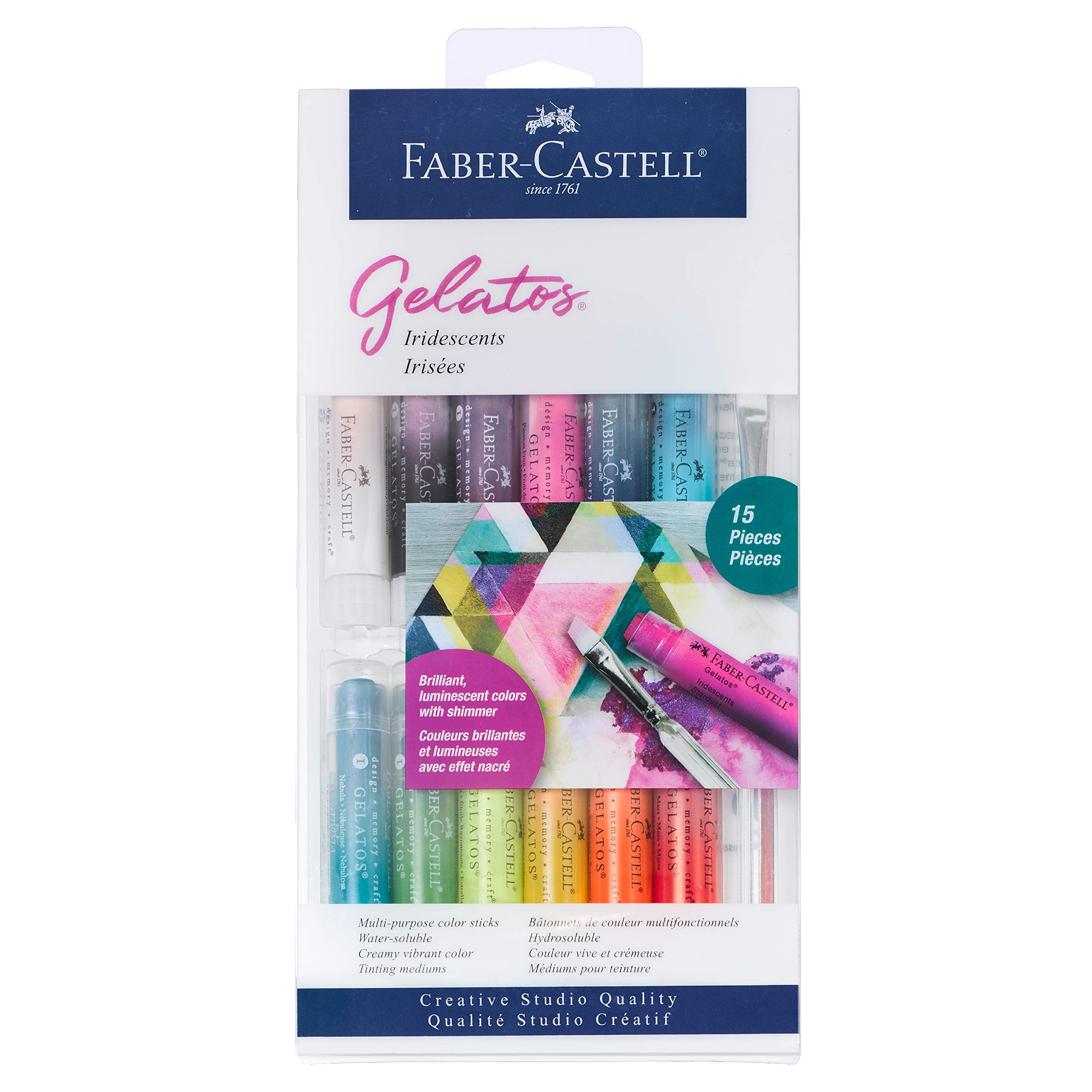 Faber-Castell Gelatos Colors Set, Iridescents - Water Soluble Pigment Crayons - 15 Iridescent Colors