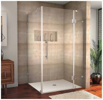 """Aston Avalux Completely Frameless Shower Enclosure, 40"""" x 36"""" x 72"""", Brushed Stainless Steel"""