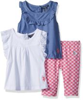 U.S. Polo Assn. Baby Girl's Knit Top, Fashion Top and Pant Set Pants