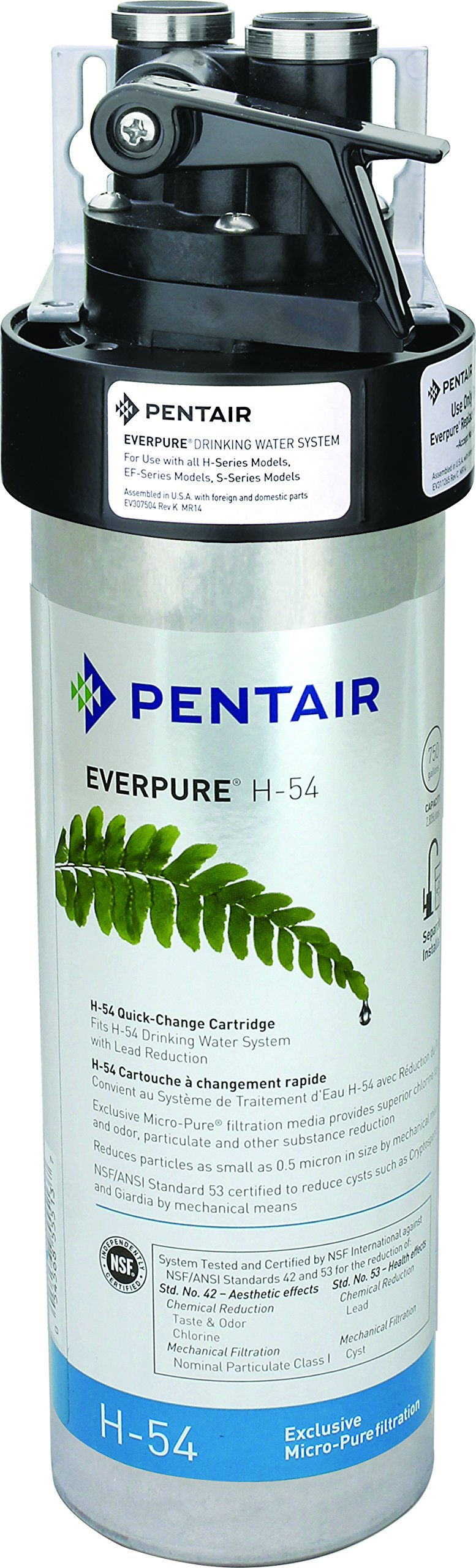 Everpure H-54 Drinking Water Filter System (EV9252-67). Quick Change Cartridge System. Commercial Grade Water Filtration and Lead Reduction