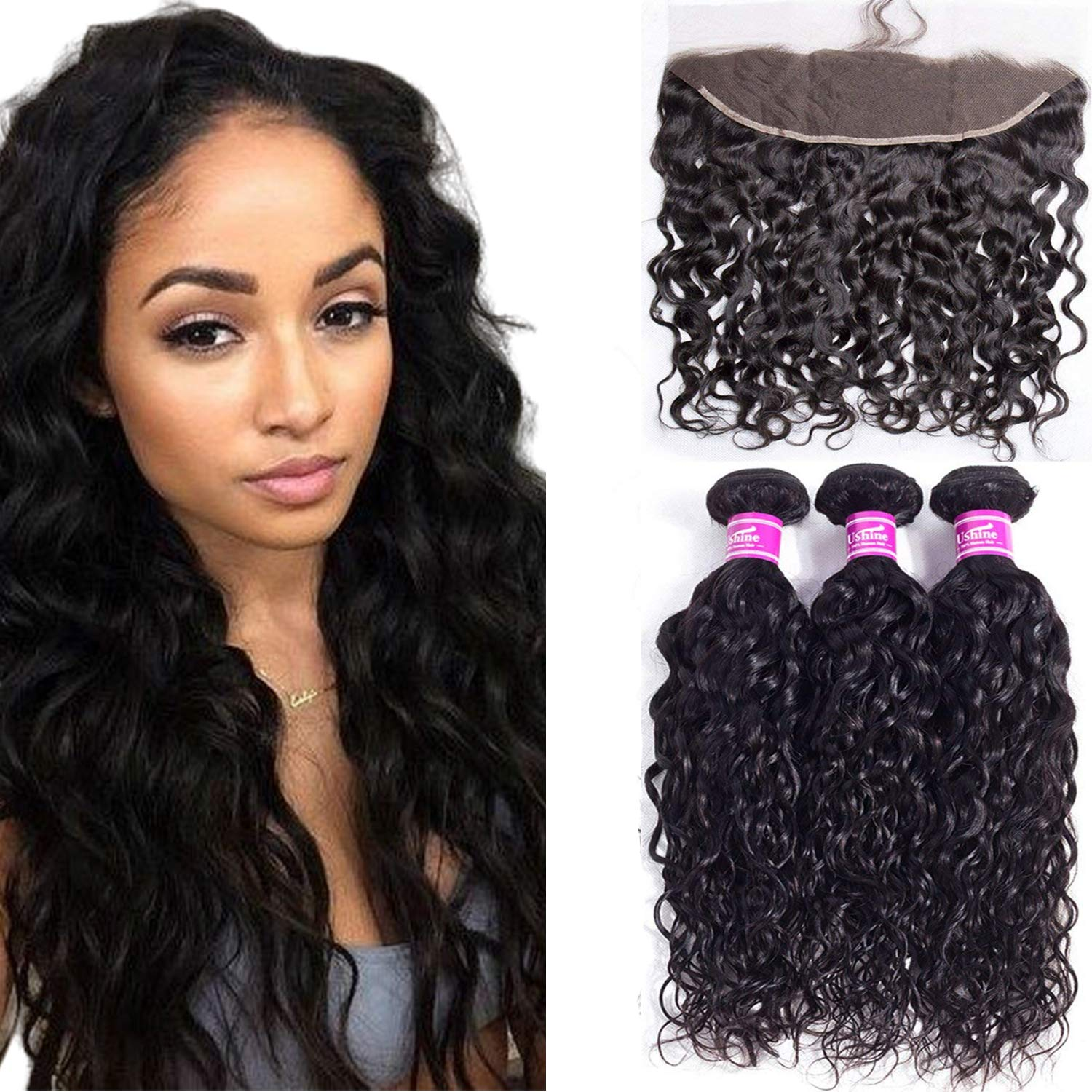 """20""""22""""24""""+18"""" Water Wave Hair 3 Bundles With 13x4 Lace Frontal Free Part 375g/pack 100% Unprocessed Brazilian Wet And Wavy Hair Lace Frontal with Baby Hair Natural Black Color Ushine Hair"""