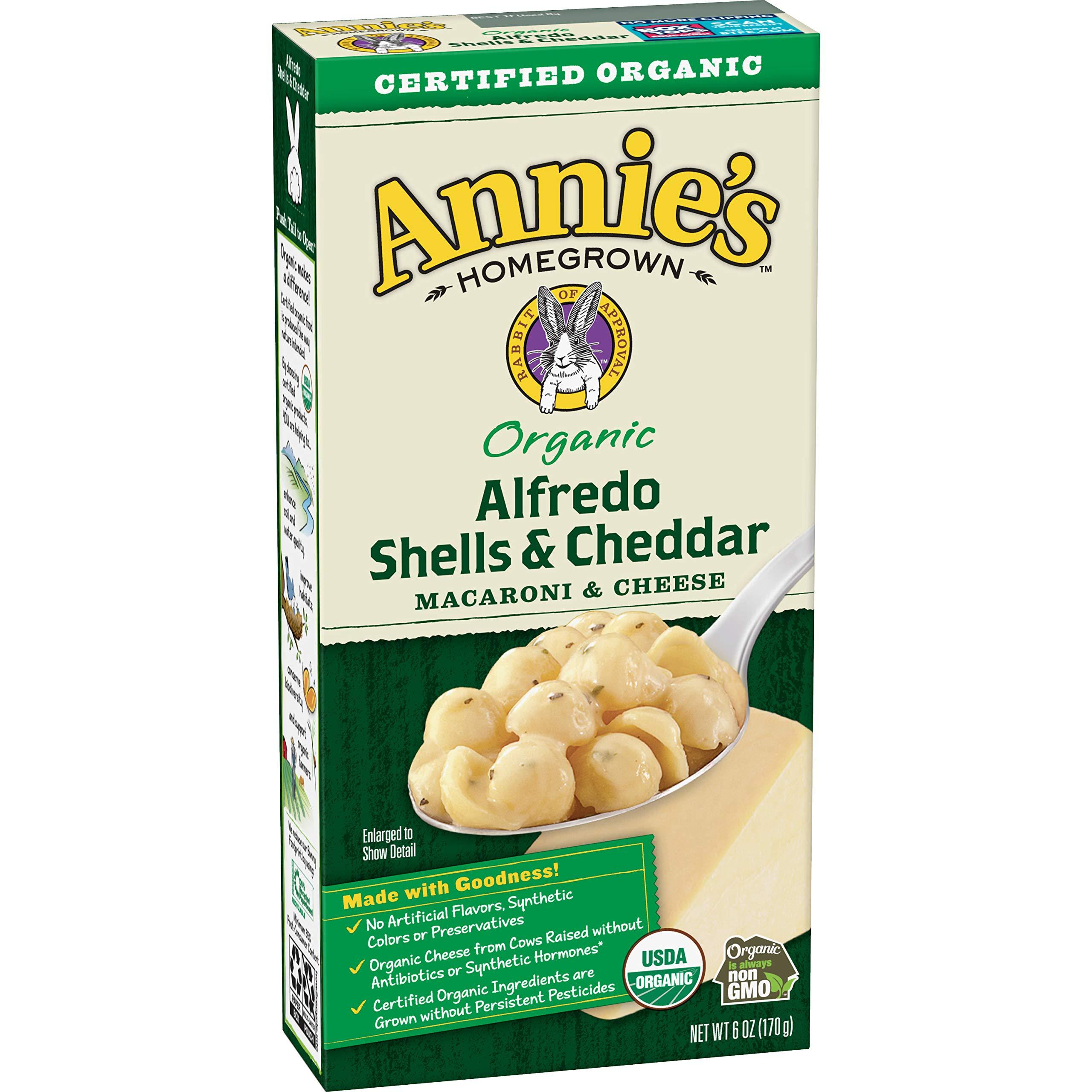 Annie's Organic Alfredo Shells & Cheddar Macaroni and Cheese, 6 oz,12 Pack