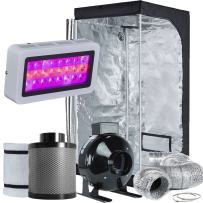 """TopoLite Grow Tent Room Complete Kit Hydroponic Growing System LED 300W/ 600W/ 800W/1200W Grow Light + 4""""/ 6"""" Carbon Filter Combo + Multiple Size Dark Room (LED300W+32""""X32""""X63""""+4"""" Filter Combo)"""