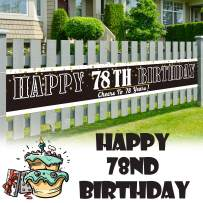 LINGPAR 9.8 x 1.6 ft Large Sign Happy 78th Birthday Banner - Cheers to 78 Years Old Decor