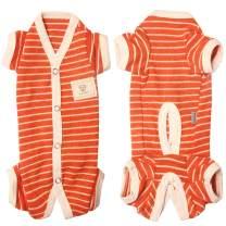TONY HOBY Female/Male Pet Dog Pajamas Stripes 4 Legged Dog pjs Jumpsuit Soft Cotton Dog Clothes(S, Orange+White-Boys)