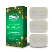 QUEEN natural skin renewal whipp soap- Premium formula with Delicate Net for Softening Whip Foam-Glutathione, Kojic acid, hyaluronic acid soap (3 Bars-Kojic+Gluta(Limited Edition)+Mesh)